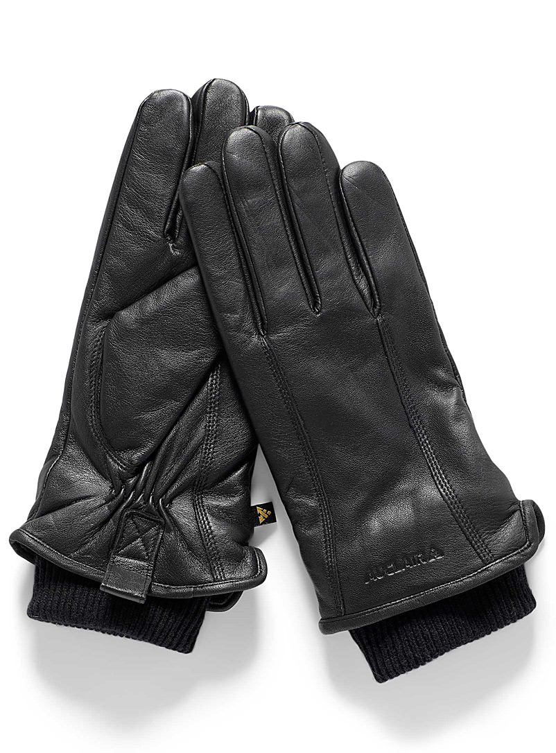 Auclair Black Aya knit cuff insulated leather gloves for women