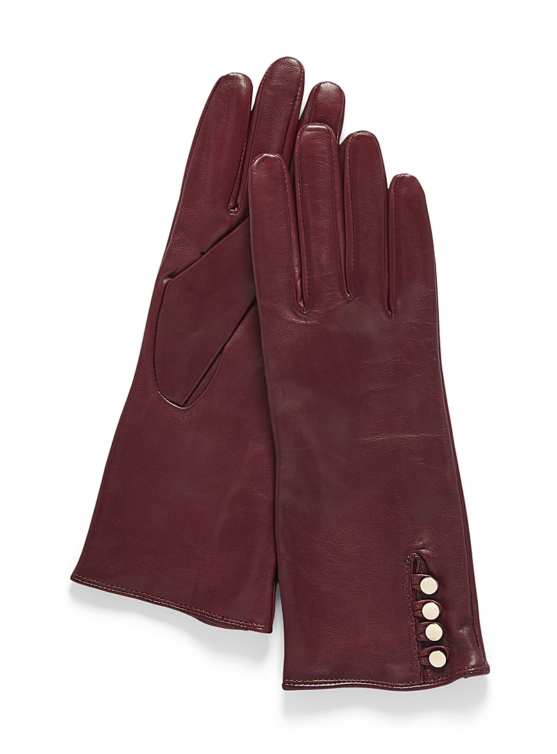 Auclair Ruby Red Leather and cashmere gold button gloves for women