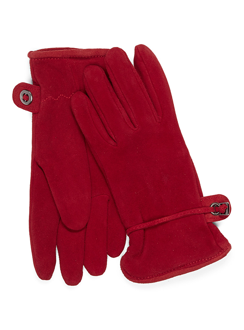 Deer suede gloves - Leather & Suede - Red