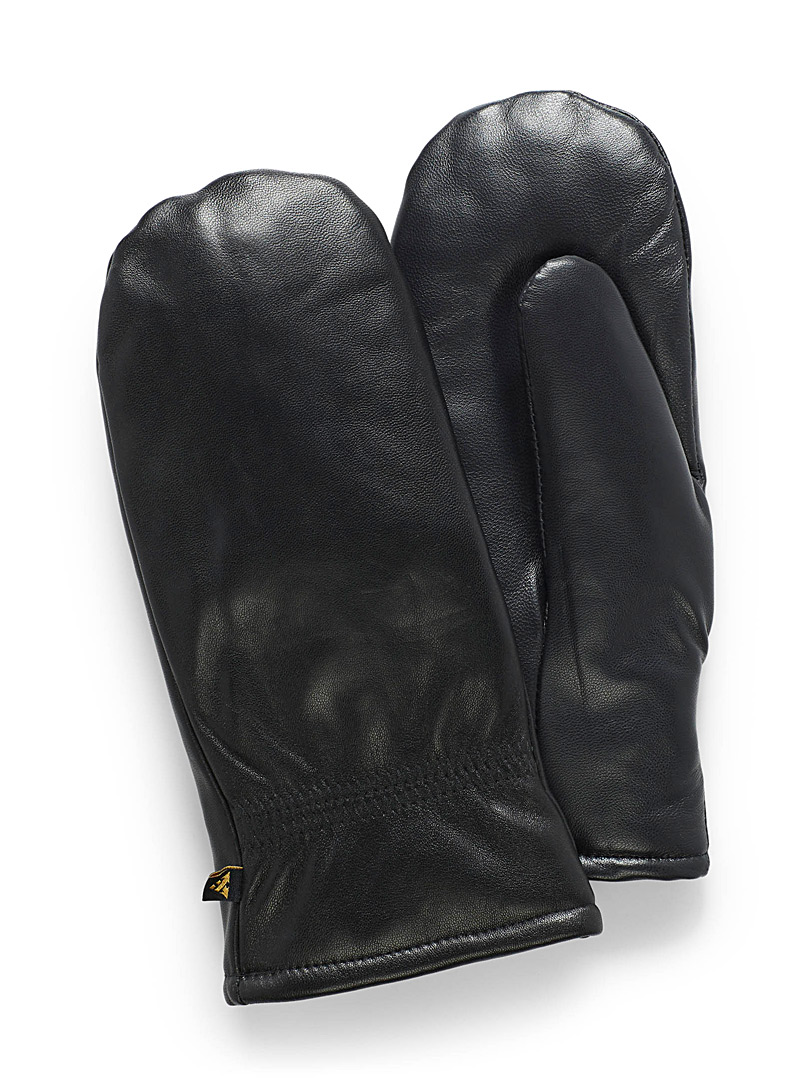 Smooth leather insulated mittens