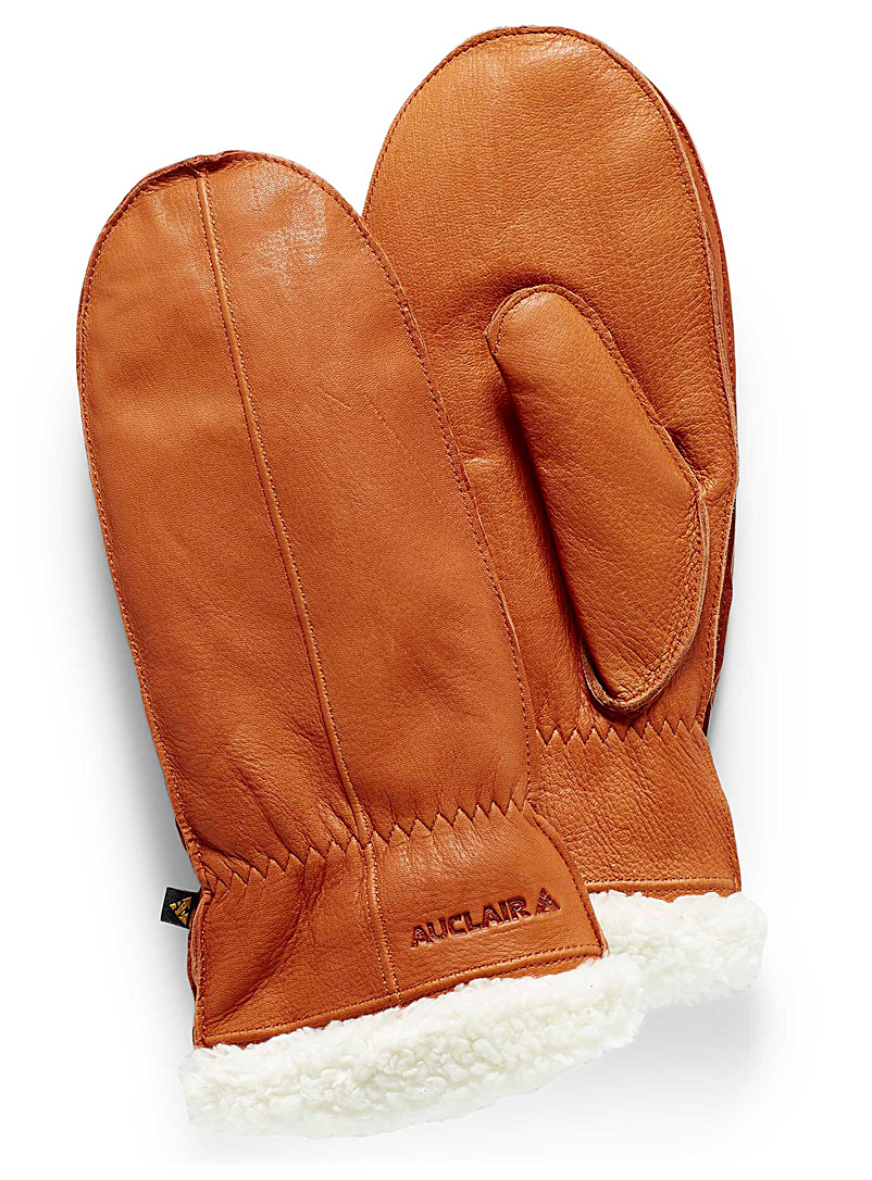 Auclair Honey Lou visible-hem leather mittens for women