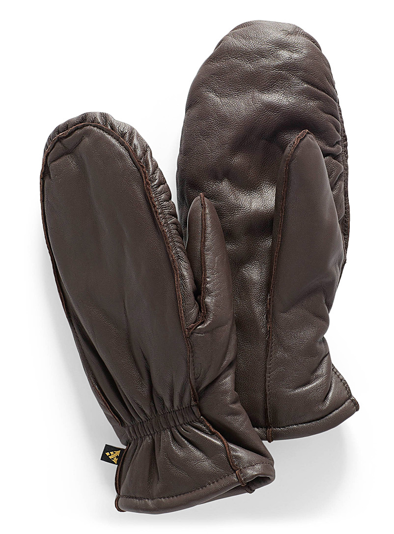 Built-in glove leather mittens - Leather & Suede - Brown