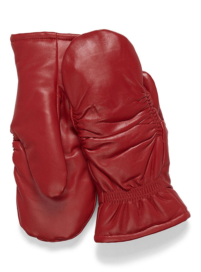 Pleated leather mittens - Leather & Suede - Red