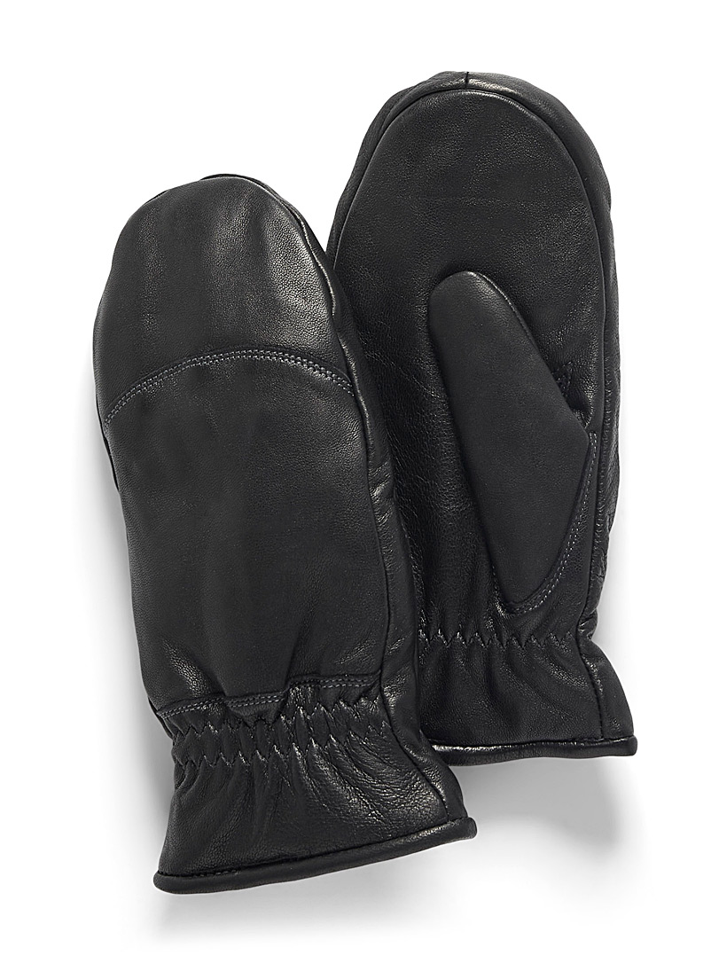 Auclair Black Bouclé-cuff leather mittens for women