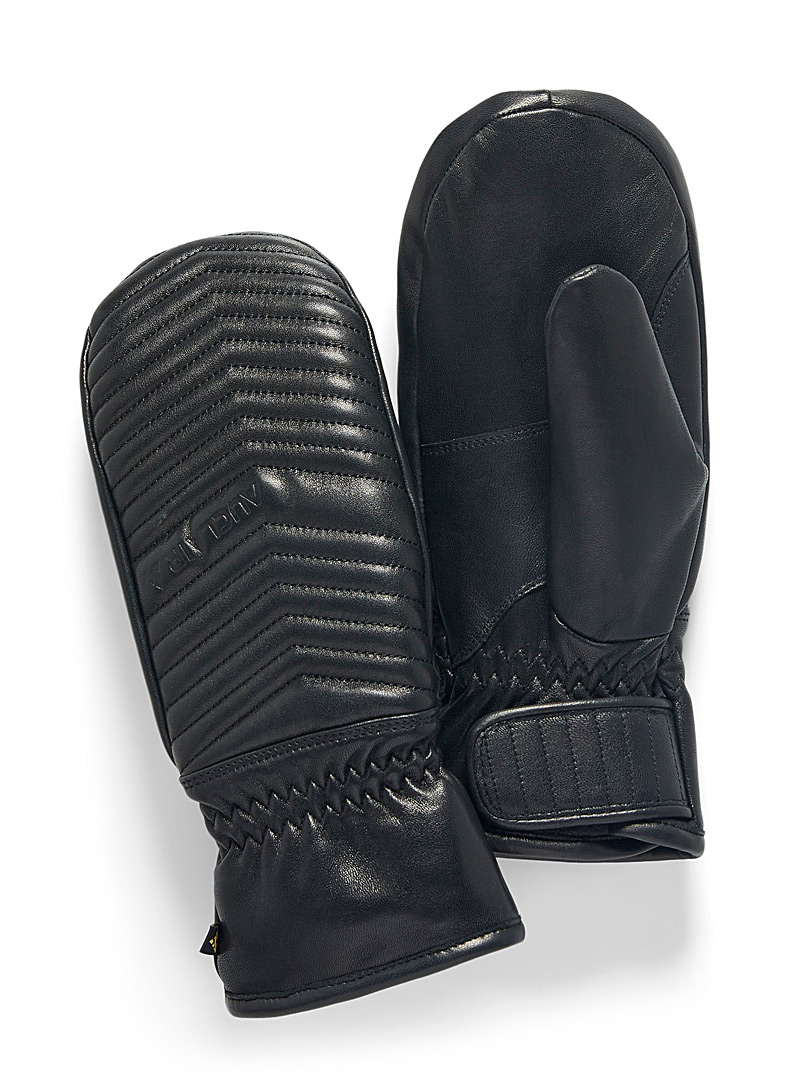 Auclair Black Herringbone leather insulated mittens for women