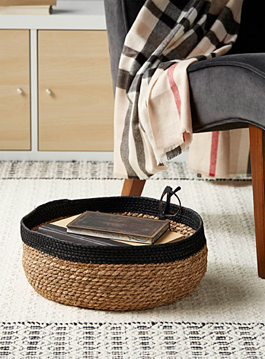 Simons Maison Assorted Large contrasting straw basket