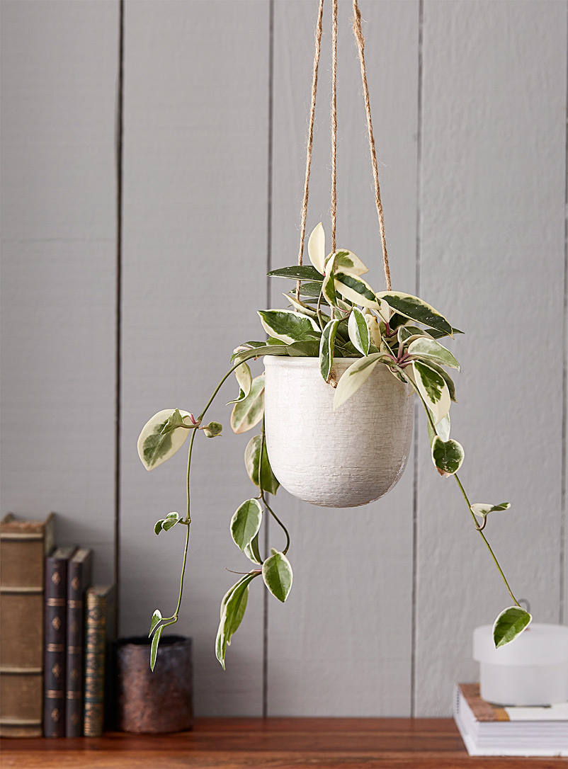 Simons Maison White Medium antique ceramic hanging planter