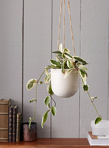 Medium antique ceramic hanging planter