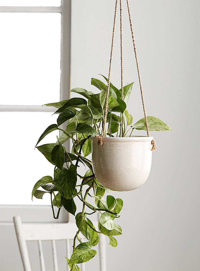 Simons Maison White Large antique ceramic hanging planter