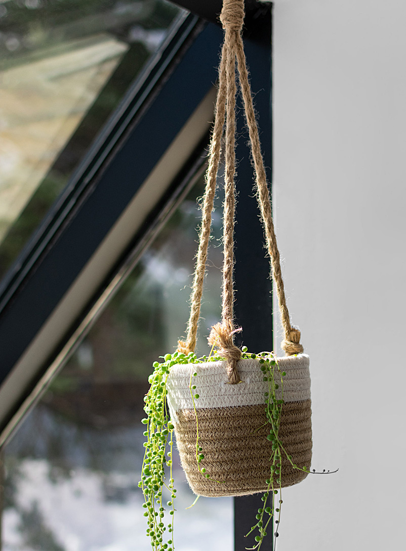 Simons Maison Sand Braided cotton and jute hanging planter