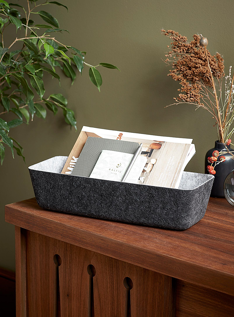 Simons Maison Grey Large two-tone felt basket