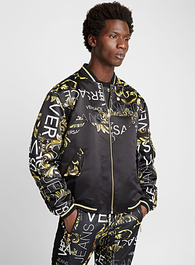 Baroque block and logo bomber jacket