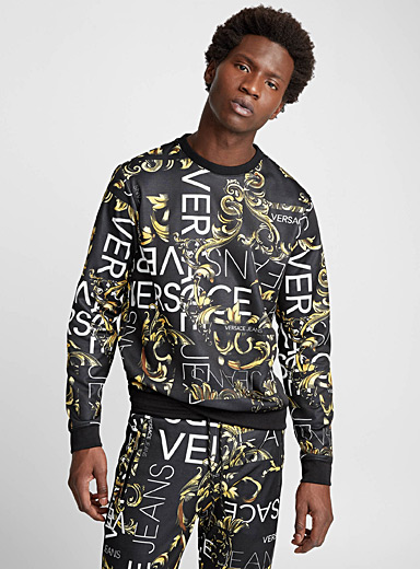 Baroque pattern and logo sweatshirt