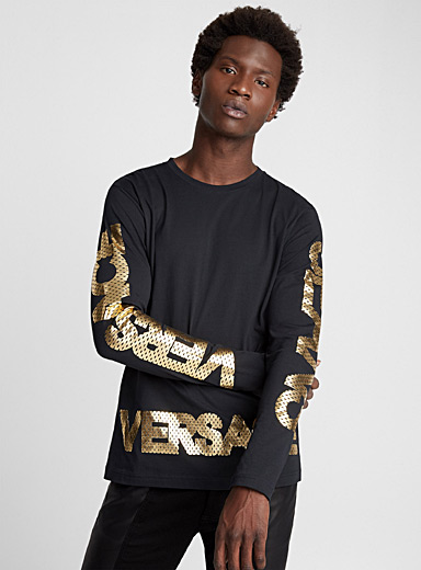 Mesh-like gold logo T-shirt