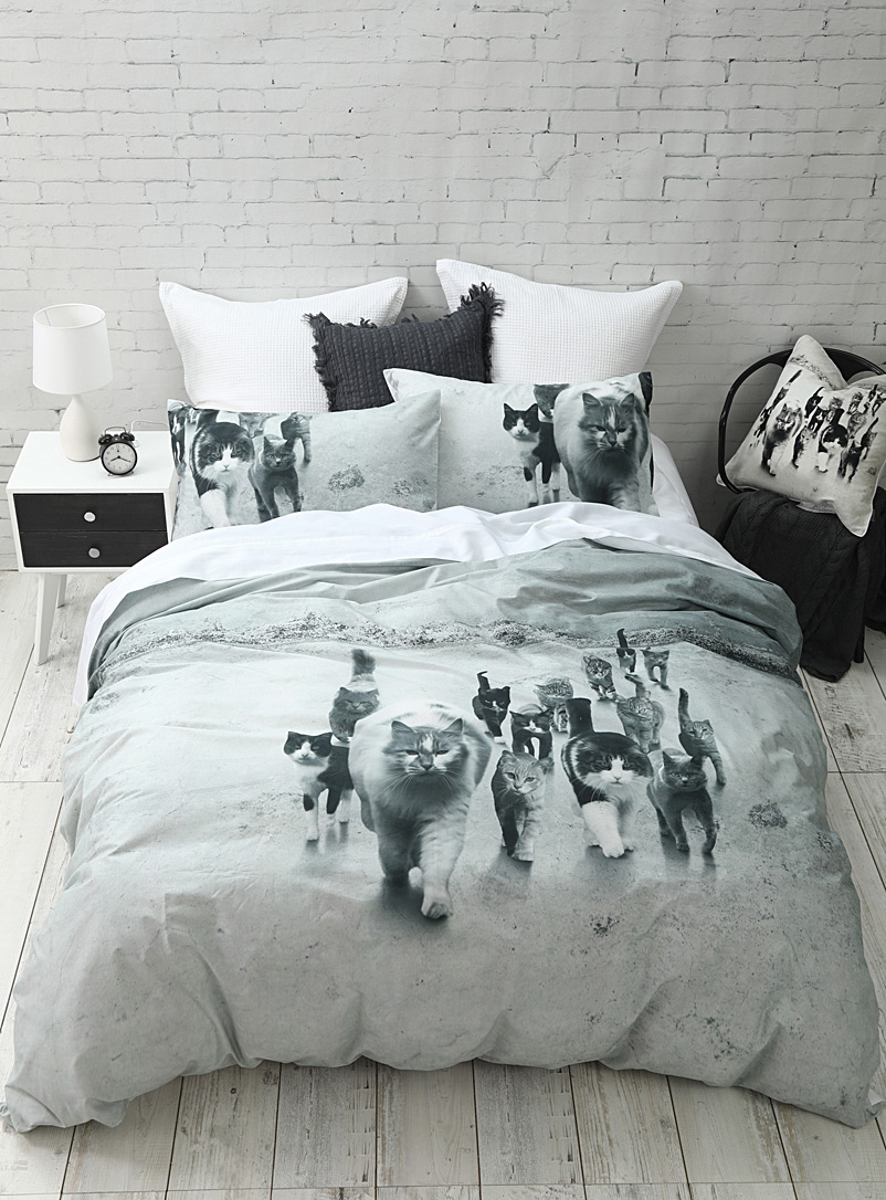 Cat squad duvet cover set - Duvet Covers - Grey