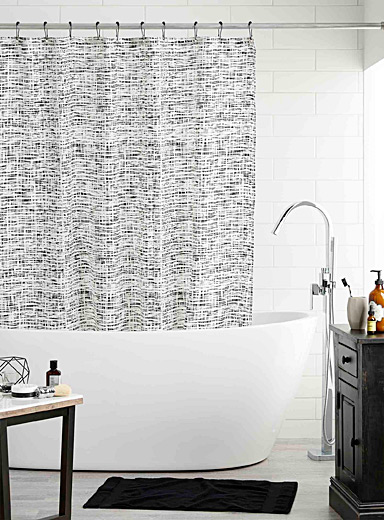 Graphic wave shower curtain
