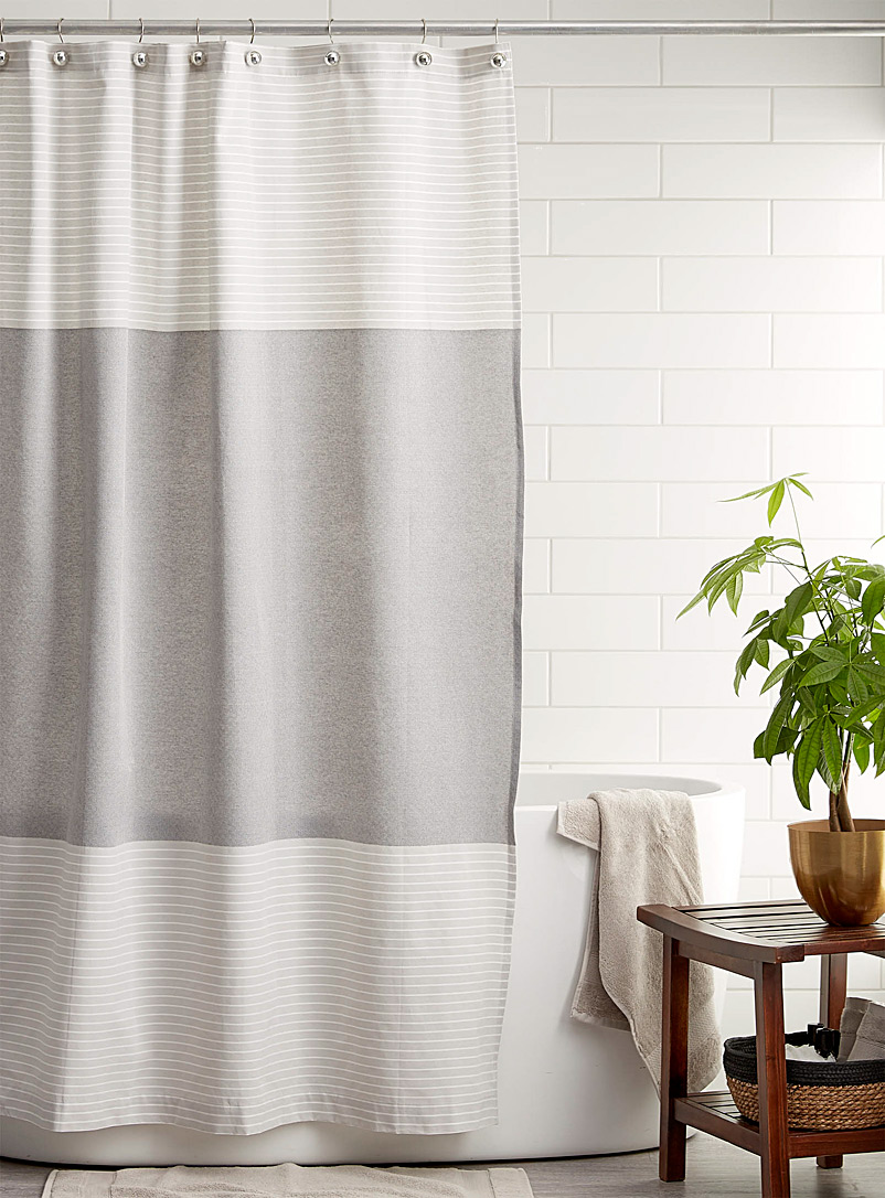 Simons Maison Patterned Grey Diamond stripe shower curtain
