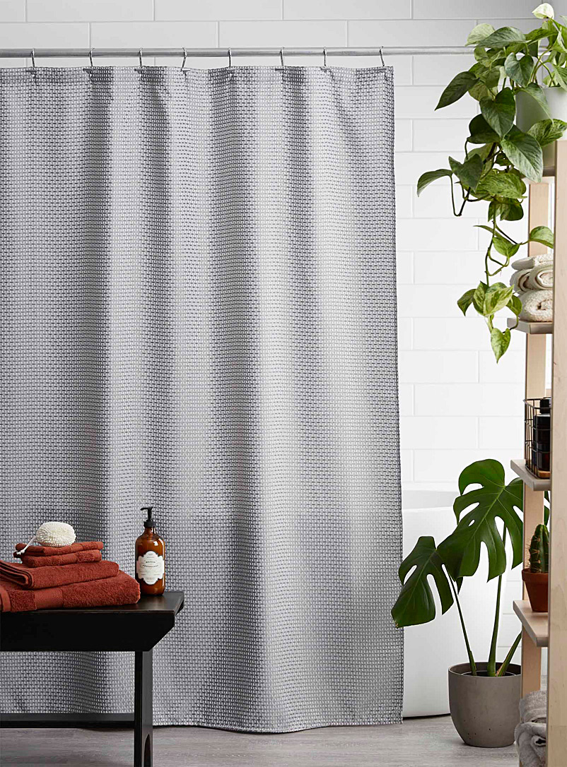 Simons Maison Light Grey Heritage embroidery shower curtain