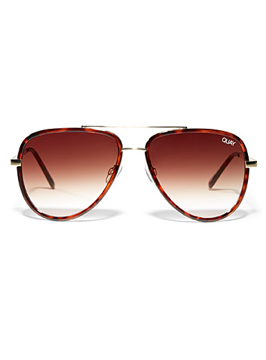 Quay Light Brown All In aviator sunglasses for women