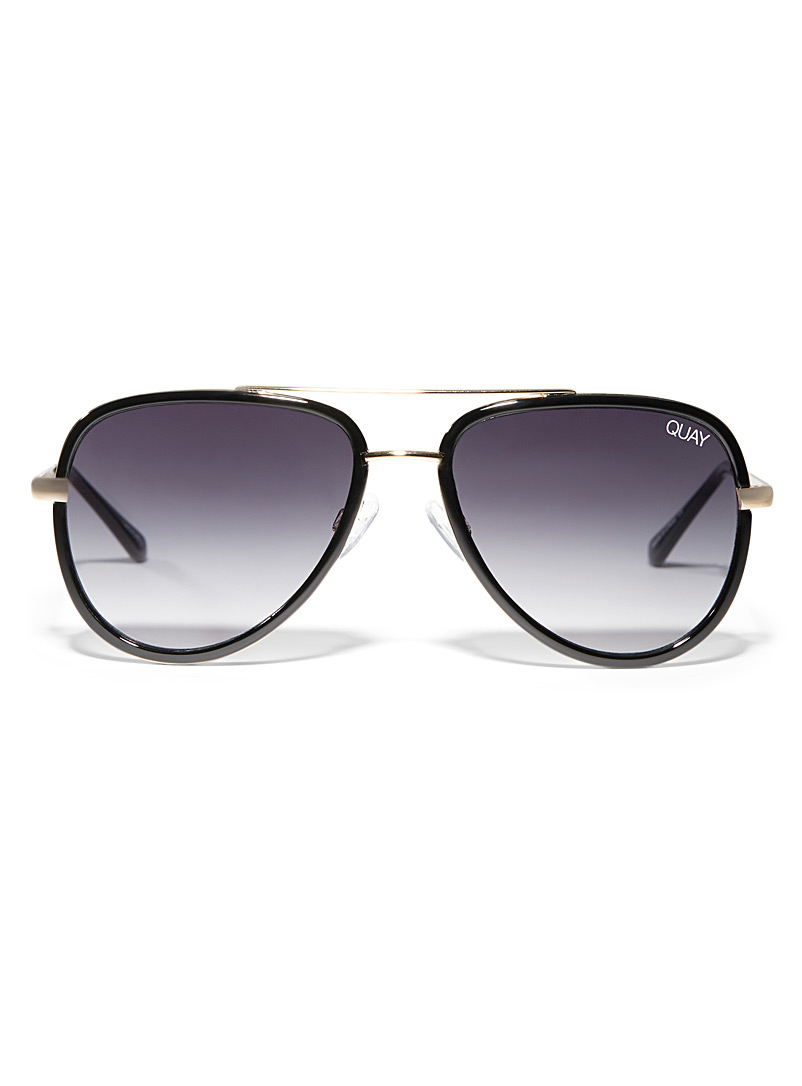 Quay Black All In mini aviator sunglasses for women