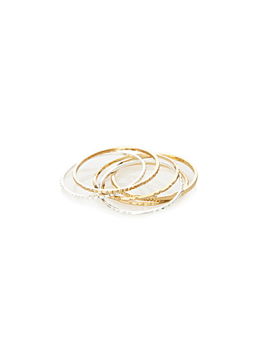 Slim textured rings <br>Set of 6