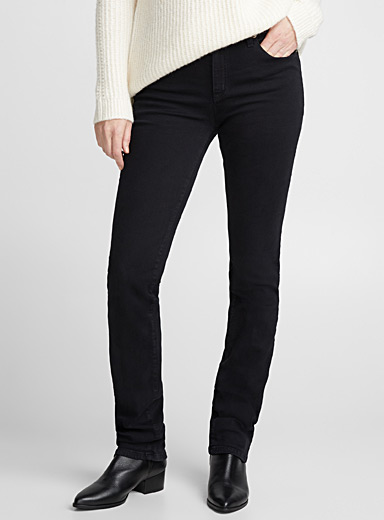 Black straight high-rise jean