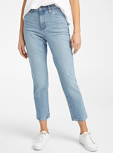 Second Yoga Jeans Baby Blue Distressed Emily slim-fit jean for women