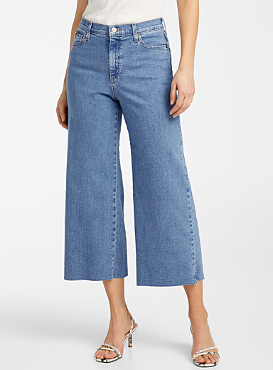 Second Yoga Jeans Baby Blue Frayed Lily wide-leg crop jean for women