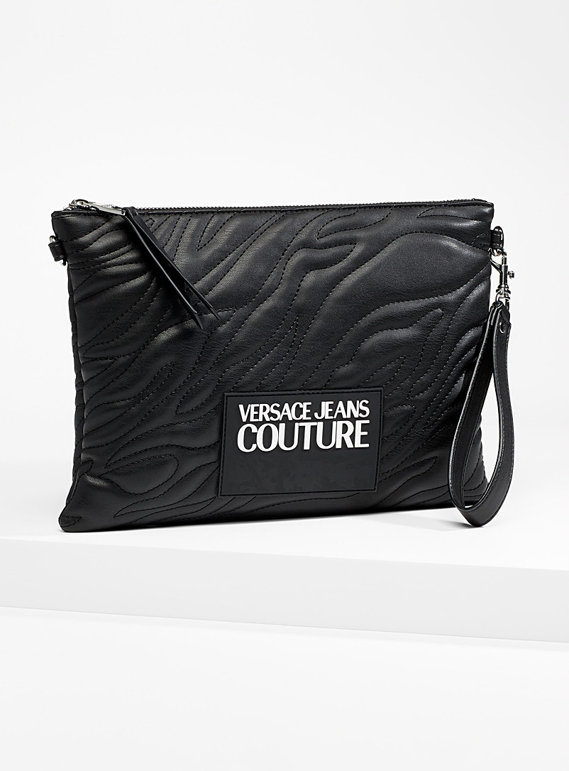 Versace Jeans Couture Black Tiger-stripe clutch for women
