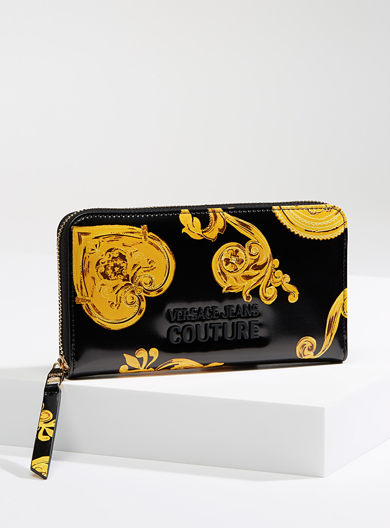 Versace Jeans Couture Patterned Black Baroque print wallet for women