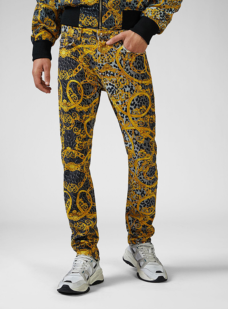 Versace Jeans Couture Black Chain and leopard jean for men