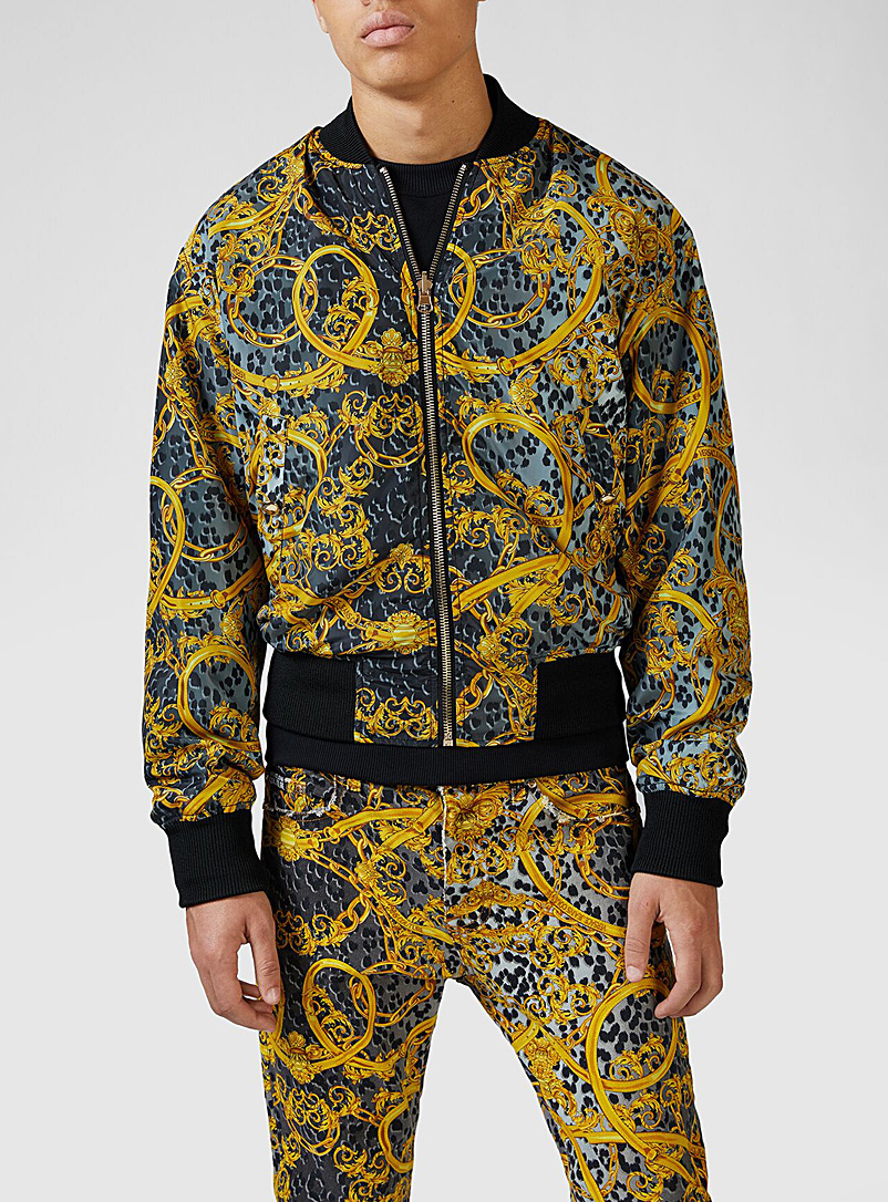Versace Jeans Couture Black Leo Chain reversible jacket for men