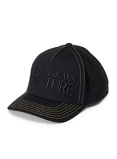 Versace Jeans Couture Black Embroidered logo cap for men