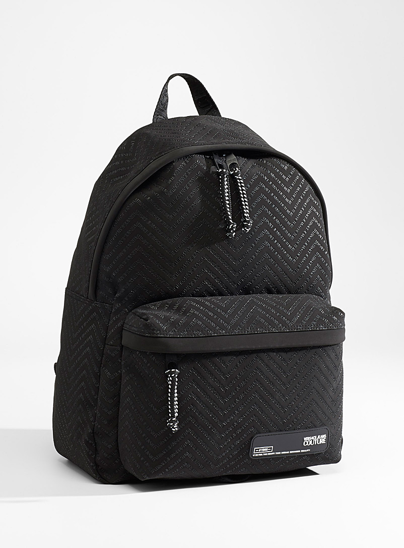 Versace Jeans Couture Black Linea Chevron backpack for men