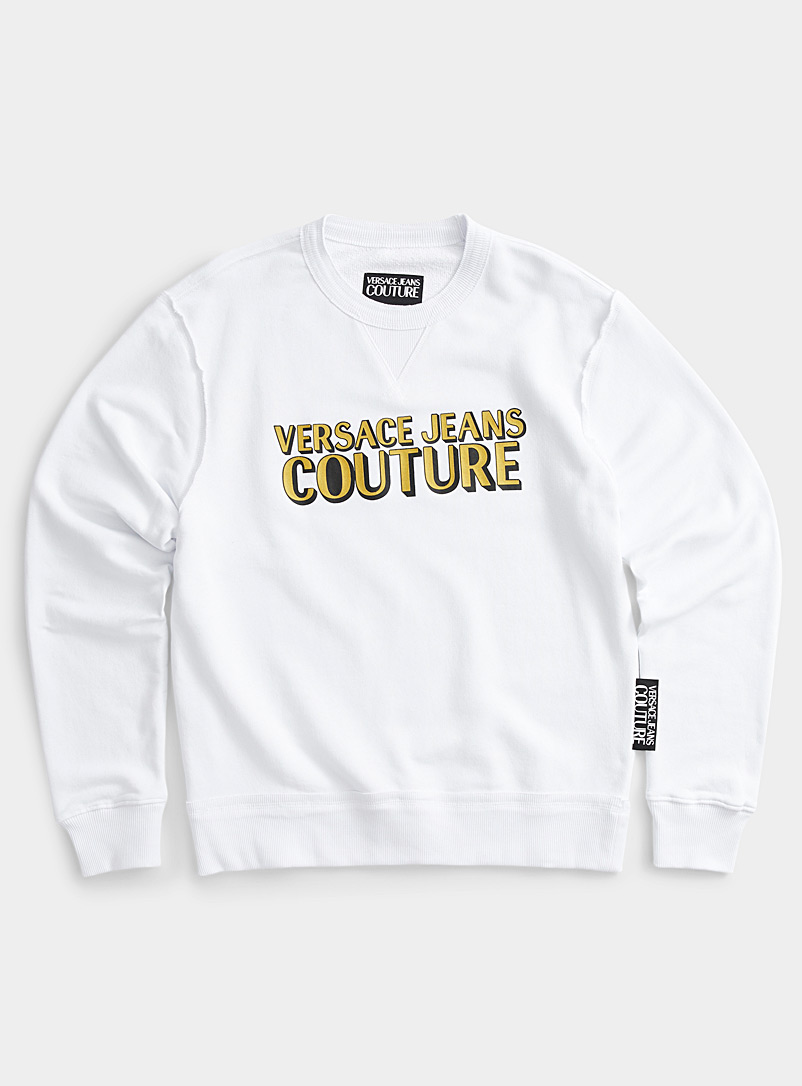 Versace Jeans Couture White Metallic logo sweatshirt for men