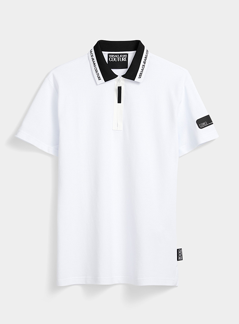 Versace Jeans Couture White Accent zip collar polo for men