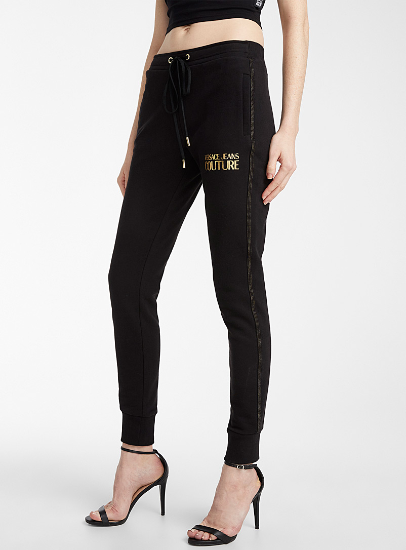 Versace Jeans Couture Black Gold topstitch joggers for women
