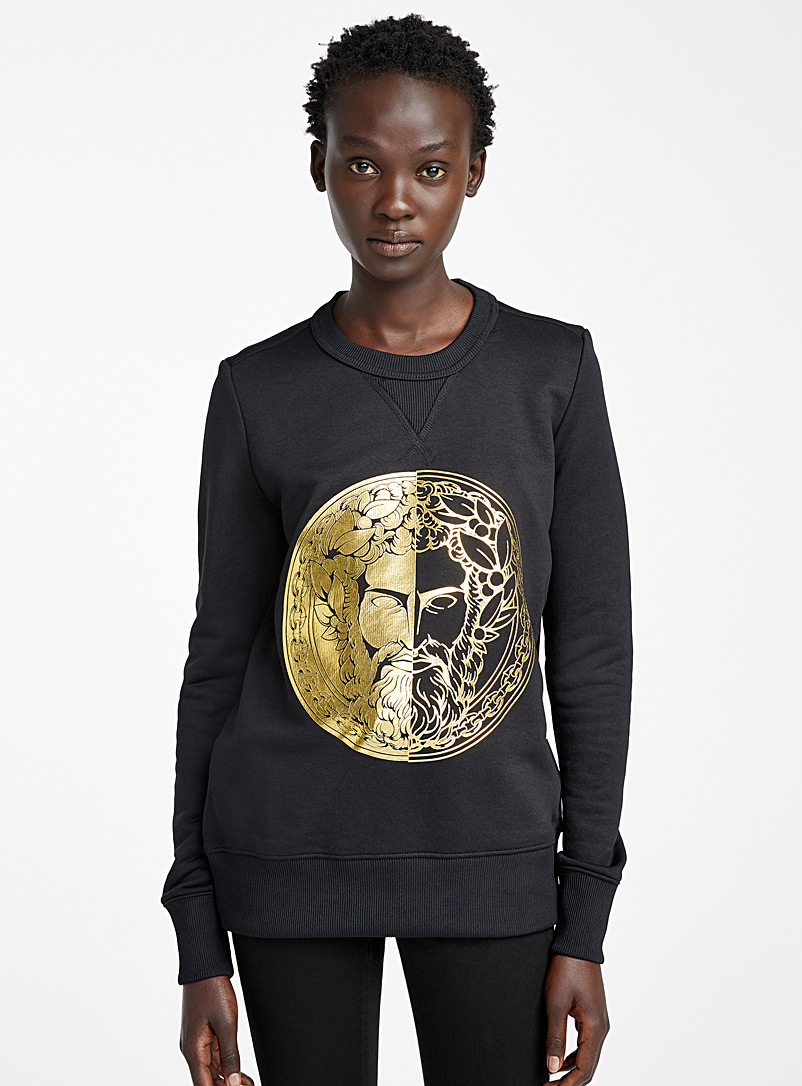 Versace Jeans Couture Black Gold head print sweatshirt for women