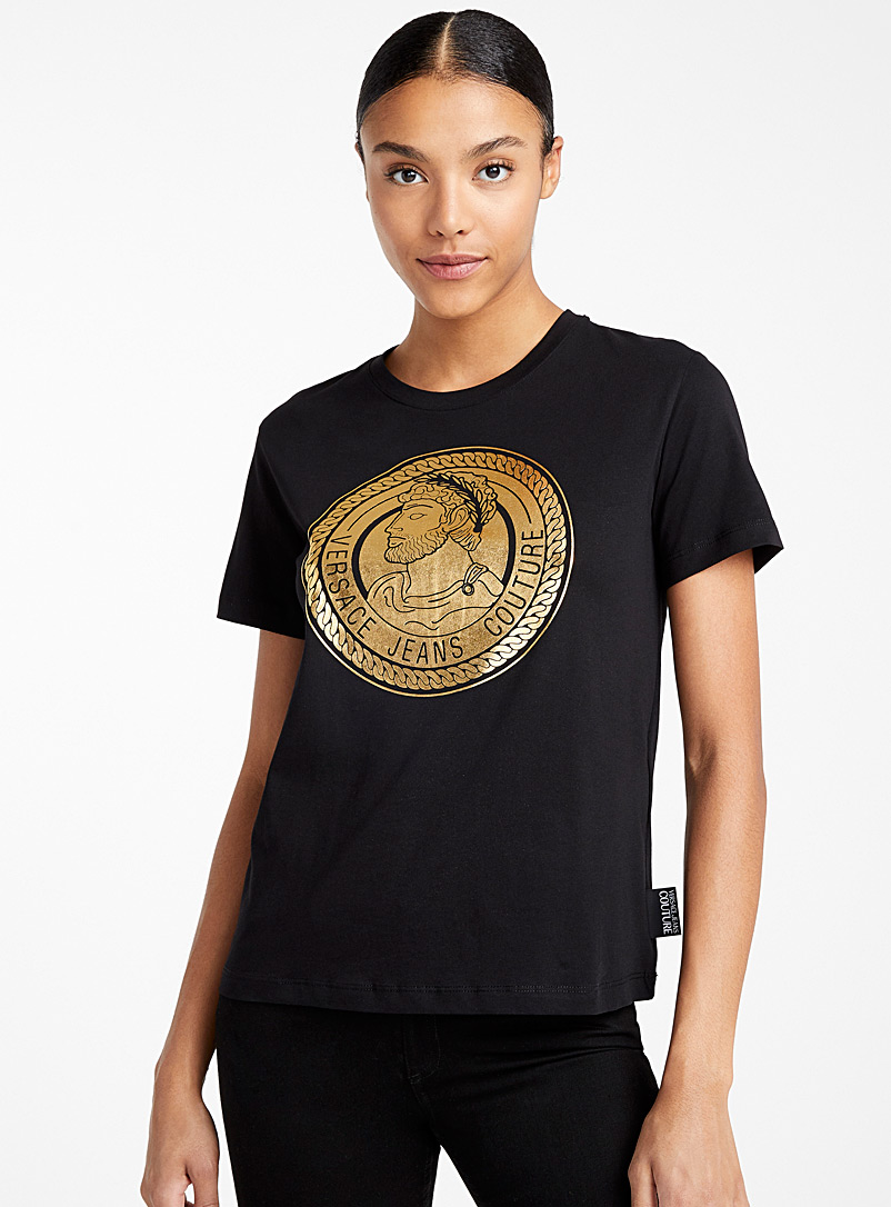 Versace Jeans Couture Black Golden medallion T-shirt for women