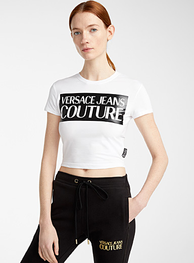 Versace Jeans Couture White Cropped logo T-shirt for women