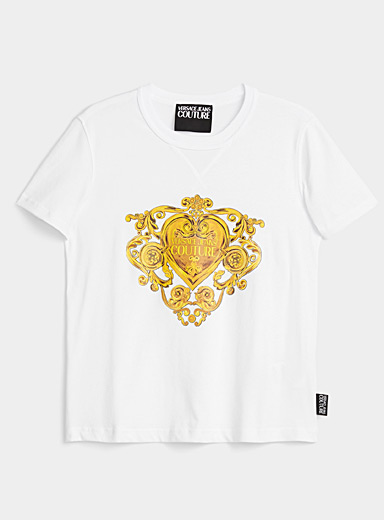 Versace Jeans Couture Black Baroque heart tee for women