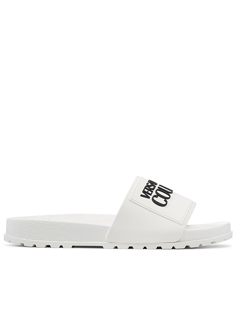 Versace Jeans Couture White Logo slides for women