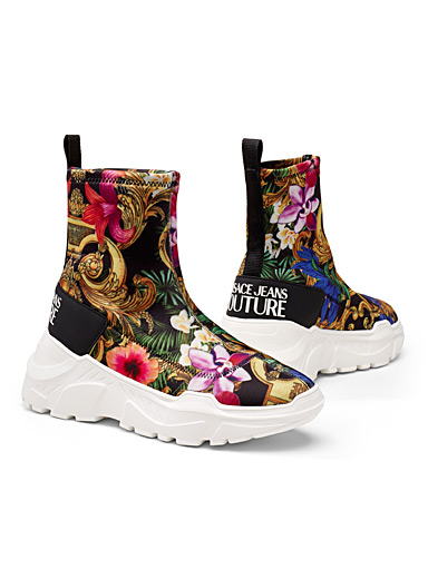 Tropical flowers high top sneakers  Women