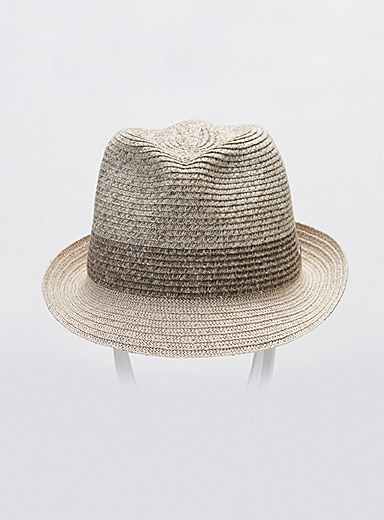 Mixed straw fedora