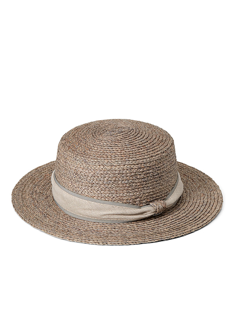 Canadian Hat Grey  Linen ribbon boater for women