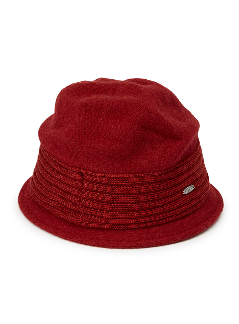 Canadian Hat Red Ribbed accent cloche hat for women