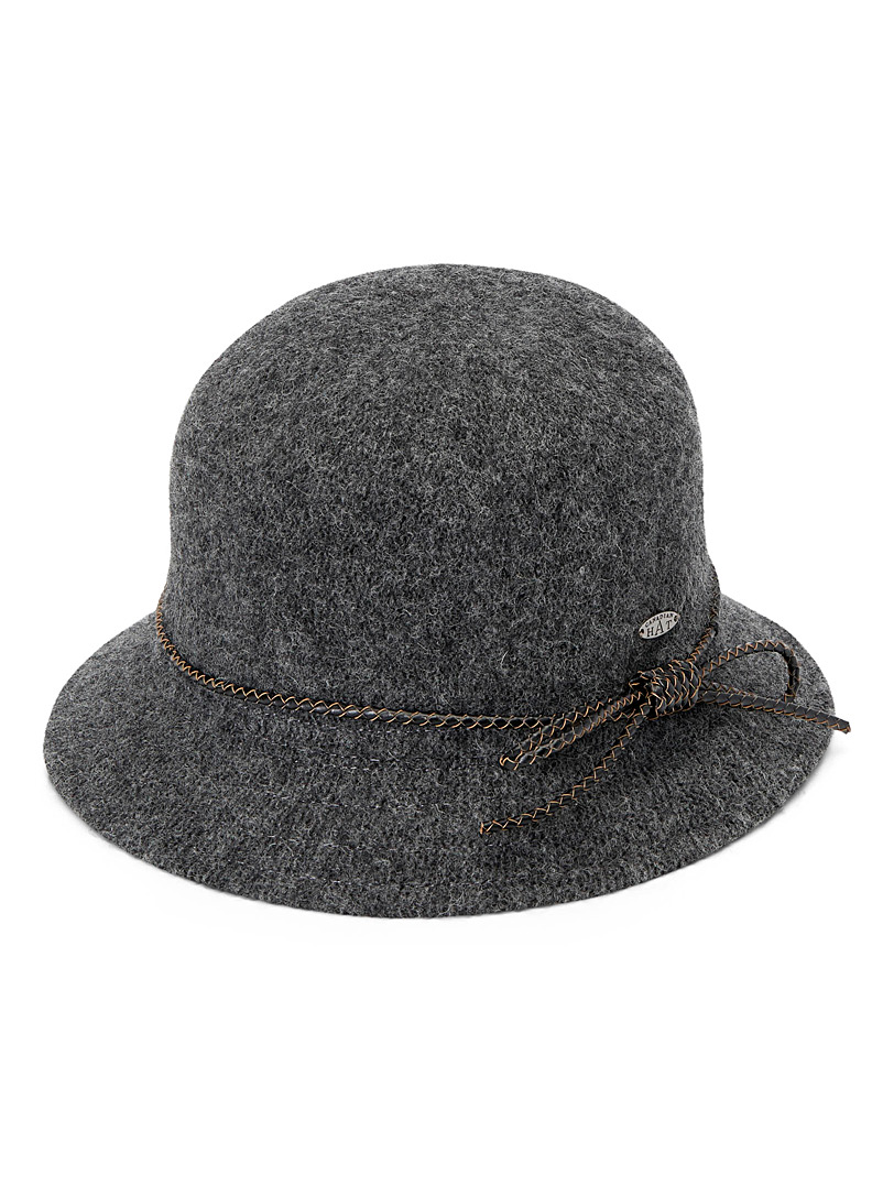 Canadian Hat Grey  Accent bow cloche for women