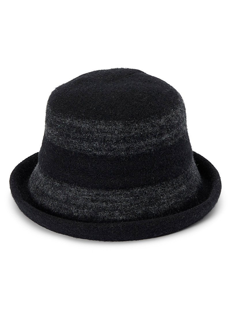 Canadian Hat Black Faded stripe wool cloche for women
