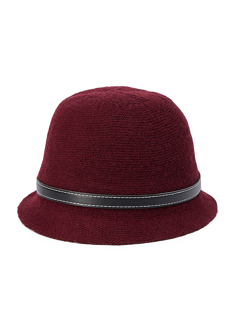 Canadian Hat Ruby Red Belted felt wool cloche hat for women