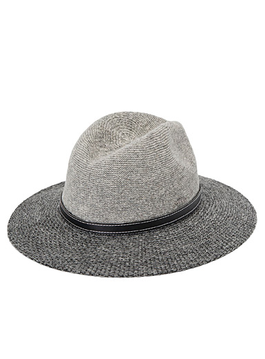 Canadian Hat Grey  Two-tone wool Panama hat for women